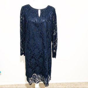 TAHARI Arthur S. Levine Blue Floral Lace Dress